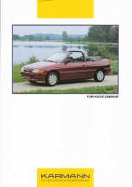 Ford Escort Cabriolet by Karmann brochure, 2 pages, 3 languages