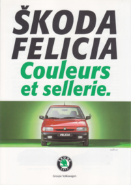 Felicia colours & upholstery folder, 6 pages, French language, 1/1995, Belgium