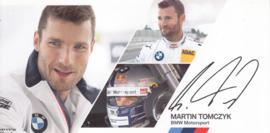 DTM driver Martin Tomczyk, oblong autogram card, 2014, German/English