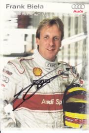 Racing driver Frank Biela, signed postcard 2003 season, German language