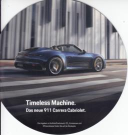 911 Carrera Cabriolet brochure, 8 round pages, 1/2019, German