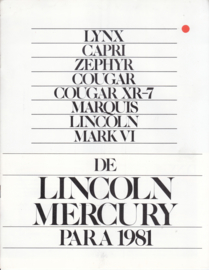 Lincoln-Mercury program,  12 pages, 11/1980, USA, # P-108, Spanish