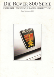 800 Series pricelist brochure, 12 pages, A5-size, 09/1989, German language