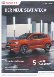Ateca (with FR) pricelist brochure, 6 pages, 05/2017, German language (Austria)
