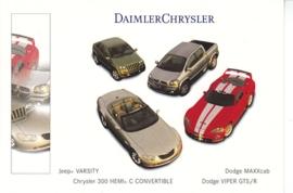 Chrysler/Dodge/Jeep models, A6-size postcard, NAIAS 2000, English