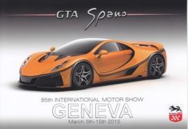 GTA Spano, postcard, continental size, Geneva show, 2015