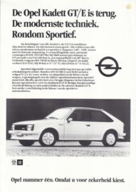 Kadett GT/E 1.8E leaflet, 1 page, about 1982, Dutch language