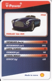 Ferrari 166 MM 1948 collector card, small size,  Shell V-Power issue, 2007 (# 9 of 24)