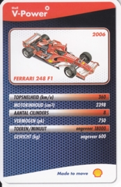 Ferrari 248 F1 2006 collector card, small size,  Shell V-Power issue, 2007 (# 8 of 24)