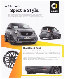 Fortwo Brabus Sport package leaflet,  2 pages, 01/2016, German language