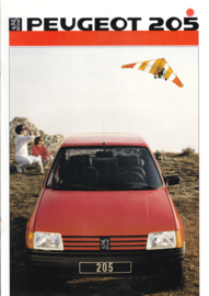 205 Hatchback brochure, 16 pages, A4-size, 1986, Dutch language