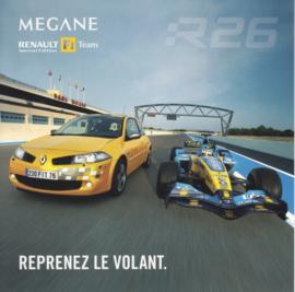 Megane Sport & R26 Formula 1 team, square postcard, 2005