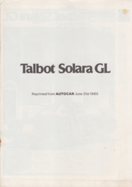 Solara GL, reprinted roadtest Autocar, 8 pages, English language,  6/1980