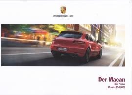 Macan pricelist brochure, 100 pages, 03/2016, German