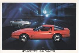 Corvette 1984 & 1953 models,  US postcard, standard size, 1984