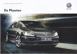 Phaeton Technique & Prices brochure, 24 pages, 06/2014, Dutch language