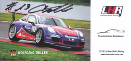 911 Carrera Cup with driver Wolfgang Triller, signed, oblong postcard, issued about 2016