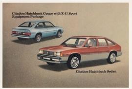 Citation Hatchback Sedan & Coupe,  US postcard, standard size, 1981