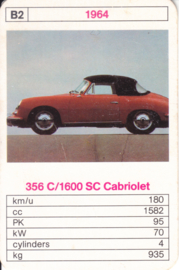 356 C/1600 SC Cabriolet - 1964 - card # B2 - size 10 x 6,5 cm