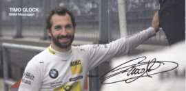 DTM driver Timo Glock, oblong autogram card, 2015, German/English