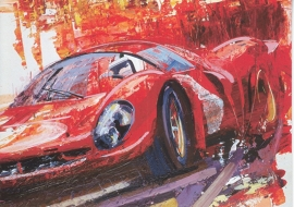 Targa Florio painting, A6-size double postcard, issue by Ferrari Magazine, German language