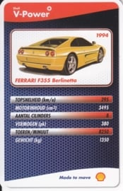 Ferrari F355 Berlinetta 1994 collector card, small size,  Shell V-Power issue, 2007 (# 22 of 24)