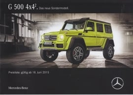 G 500 4x4 pricelist brochure, 16 pages, 06/2015, German language