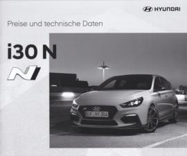 i30 N Hatchback pricelist brochure, 12 pages, 10/2017, German language