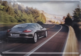 Porsche Panamera, metal postcard with white envelope, factory-issued
