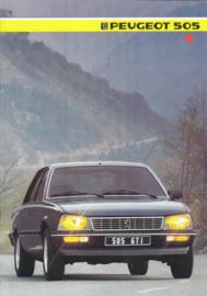 505 Sedan brochure, 8 pages, A4-size, 1985, Dutch language
