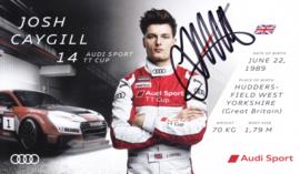Racing driver Josh Caygill, signed postcard 2016 season, English language
