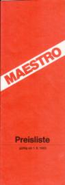 Maestro pricelist, 8 pages, A4-size, 9/1983, German language,  # PRO21007