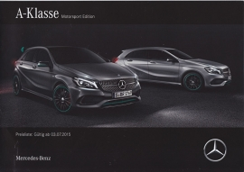 A-Klasse Motorsport Edition brochure, 12 pages, A4-size, 07/2015, German language