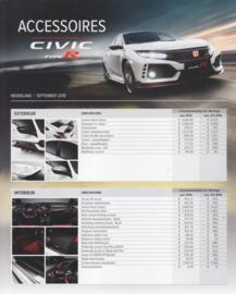 Civic Type R accessories leaflet, 2 pages, A4-size, Dutch, 08/2018