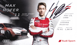 Racing driver Max Hofer, signed postcard 2016 season, English language
