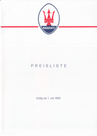 Pricelist folder, DIN A5-size, 4 pages, 07/1993, German language