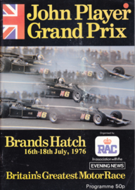 John Player F1 Grand Prix programme,  A4-size, 64 pages, 16-18 July 1976, English language