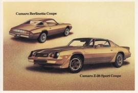 Camaro Berlinetta & Z-28 Sport Coupe,  US postcard, standard size, 1981