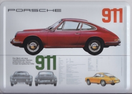 Porsche  911 first series, metal postcard with white envelope, factory-issued