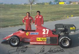 Formula One autogram postcard with drivers Arnoux & Alboreto, 1984, # 332