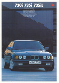 7-series Colours & Upholstery folder, 6 pages, A4-size, 2/1986, 7 languages