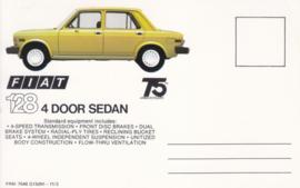 128 4-door Sedan, standard size, US postcard (# 7546)
