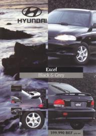 Excel 1.3i-12v Black & Grey leaflet, 2 pages, about 1992, French language (Belgium)