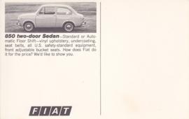 850 2-door Sedan, standard size, US postcard, undated