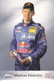 TT with racing driver Matthias Ekström, unsigned postcard 2003 season, German language