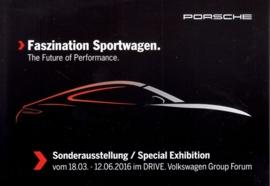 911 Sportwagen exhibition, Berlin, factory issue, A6-size postcard, 2016, German/English