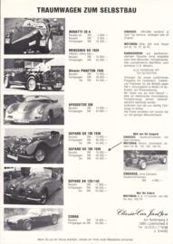 Classic-Car Janßen replica program leaflet, 1 page, about 1987, German language