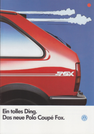 Polo Coupé Fox brochure, 8 pages,  A4-size, German language, 03/1986