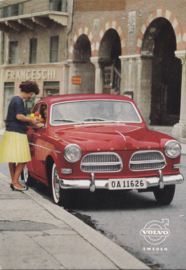 122 Sedan postcard, A6-size,  approx. 1961, English language, factory-issued in Sweden