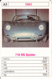 718 RS Spider - 1962 - card # A3 - size 10 x 6,5 cm